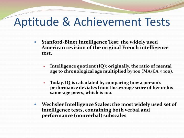 Aptitude & Achievement Tests