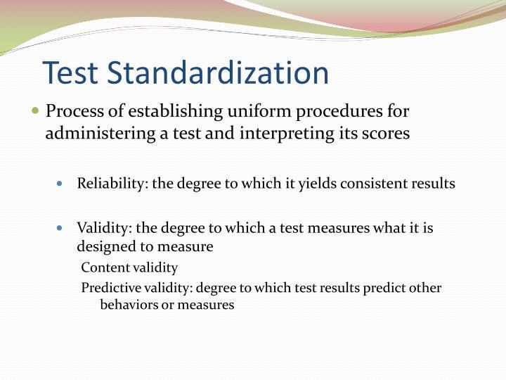 Test Standardization