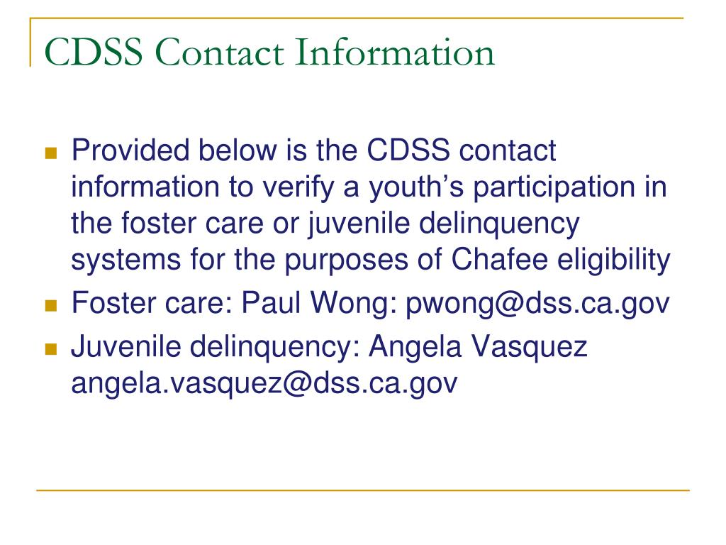 CDSS Contact Information