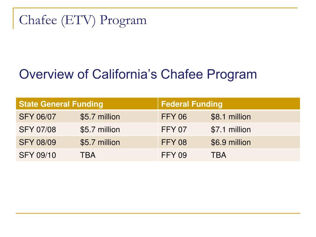 Chafee (ETV) Program
