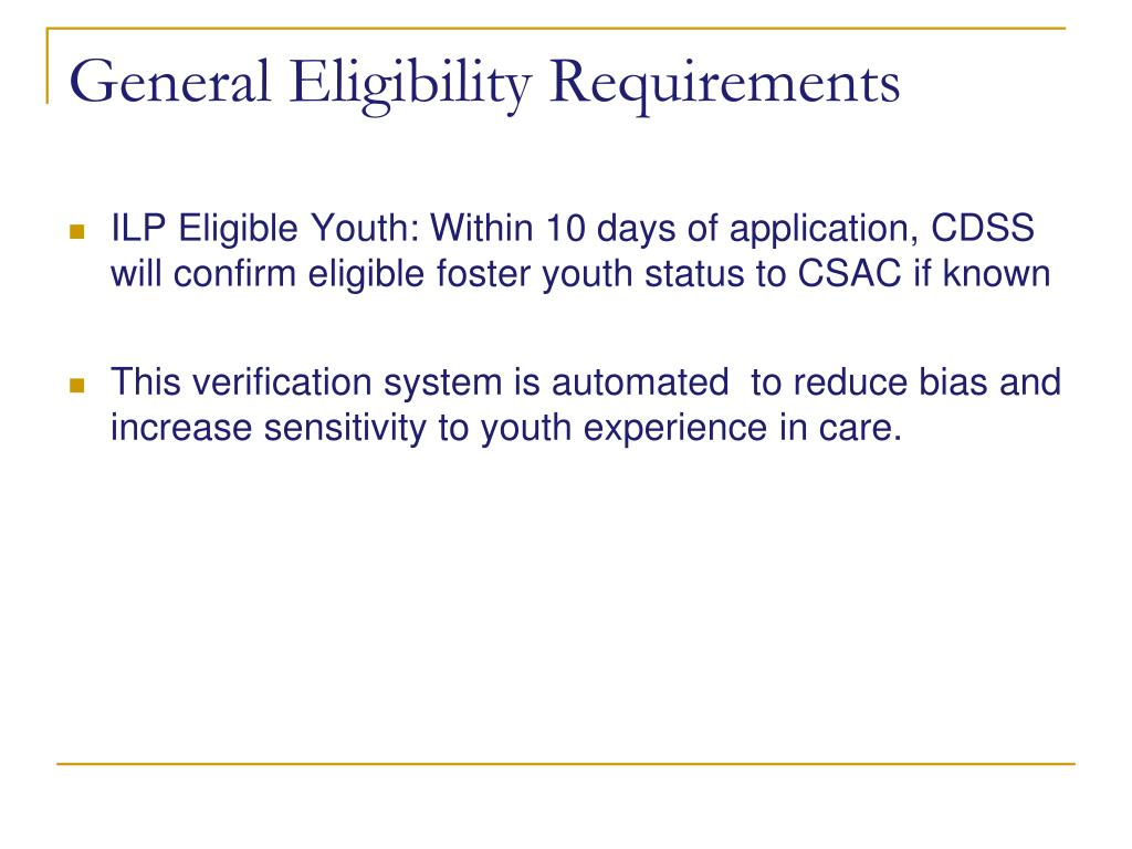General Eligibility Requirements