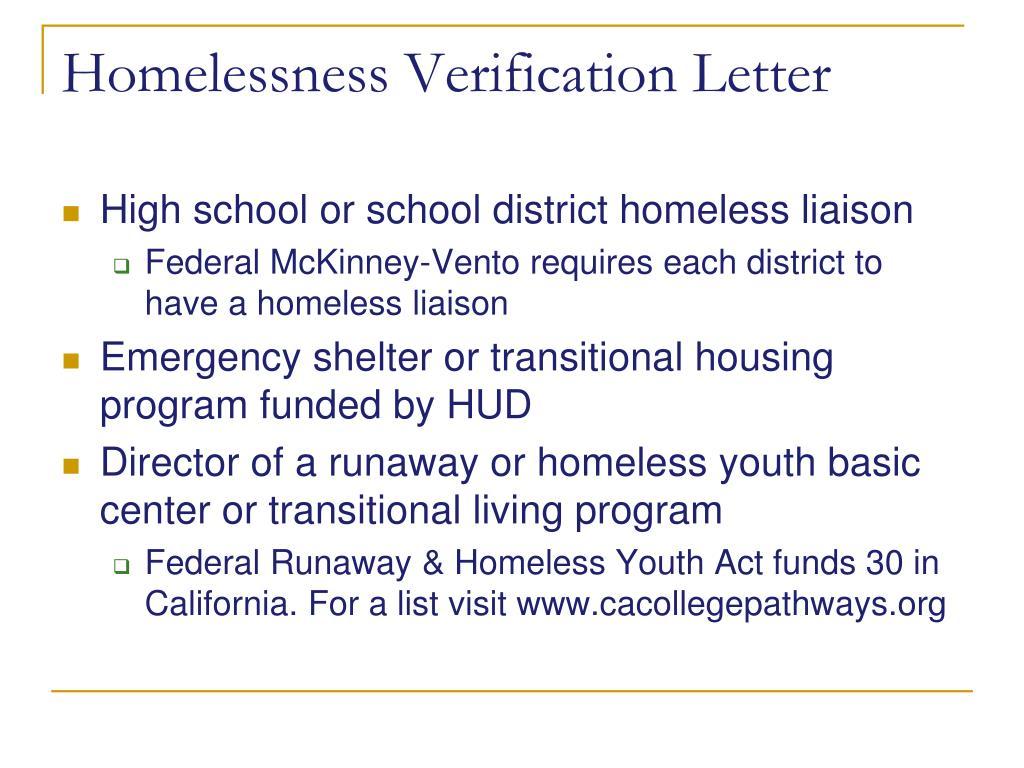 Homelessness Verification Letter