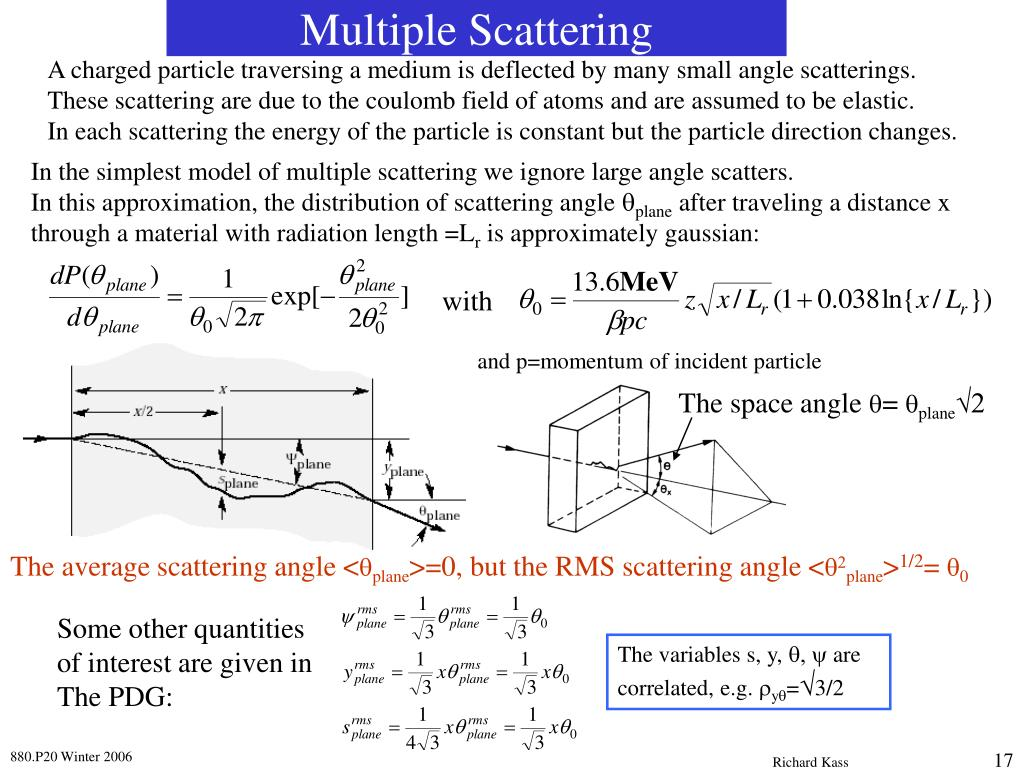 A charged particle traversing a medium is deflected by many small angle scatterings.