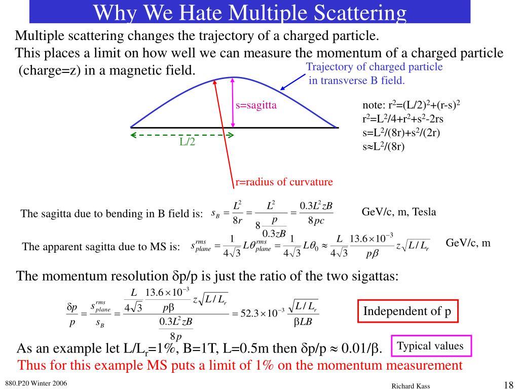 Multiple scattering changes the trajectory of a charged particle.