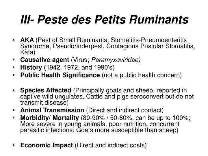 III- Peste des Petits Ruminants
