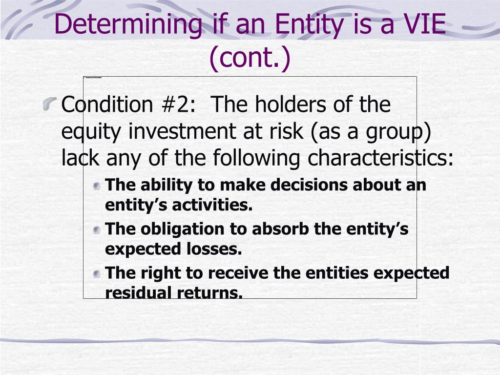 Determining if an Entity is a VIE (cont.)