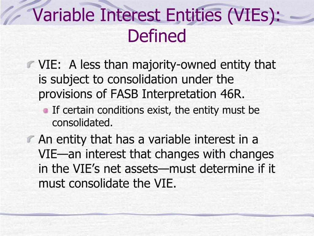 Variable Interest Entities (VIEs): Defined