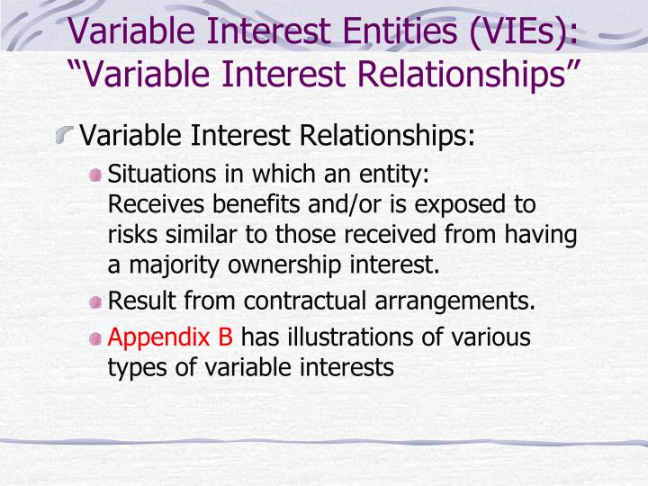 Variable interest entities vies variable interest relationships