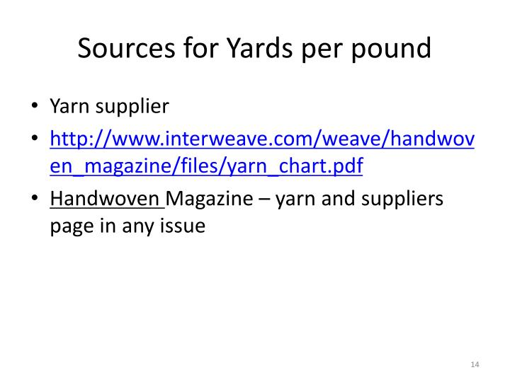 Sources for Yards per pound