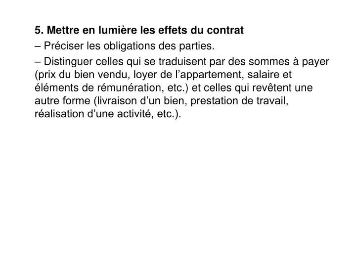 5. Mettre en lumière les effets du contrat