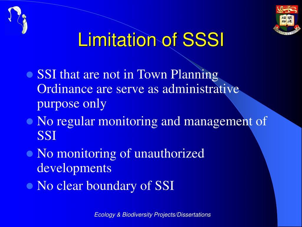 Limitation of SSSI