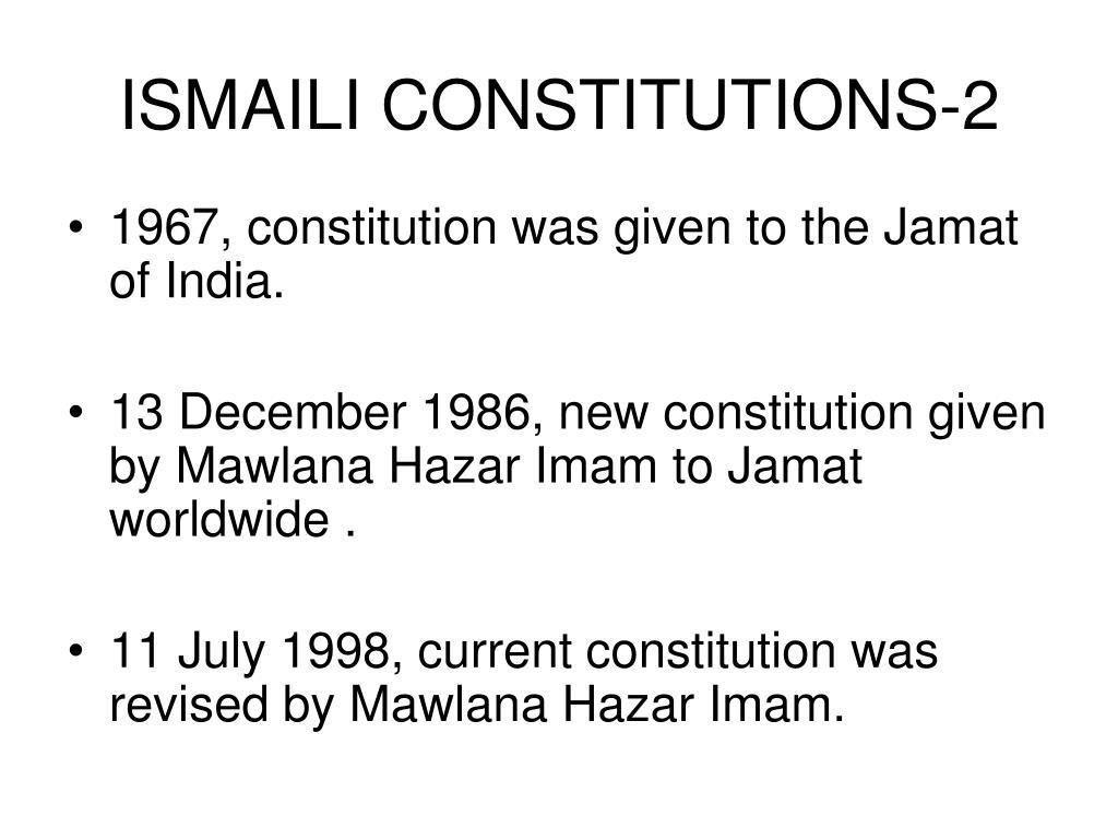 ISMAILI CONSTITUTIONS-2