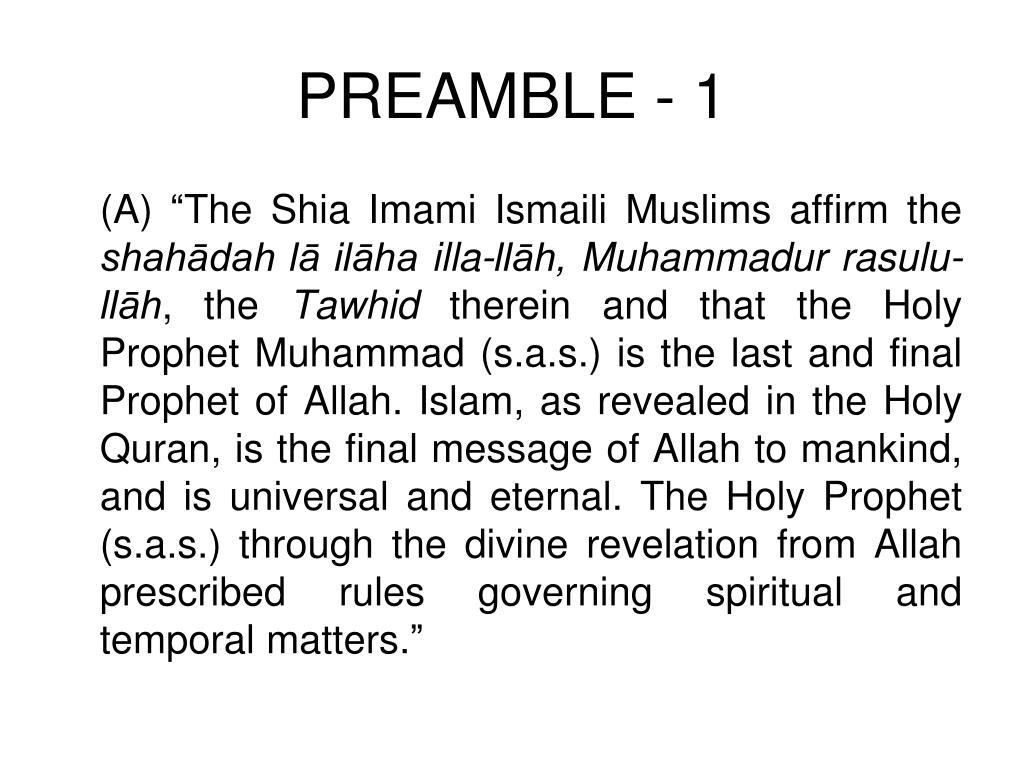 PREAMBLE - 1