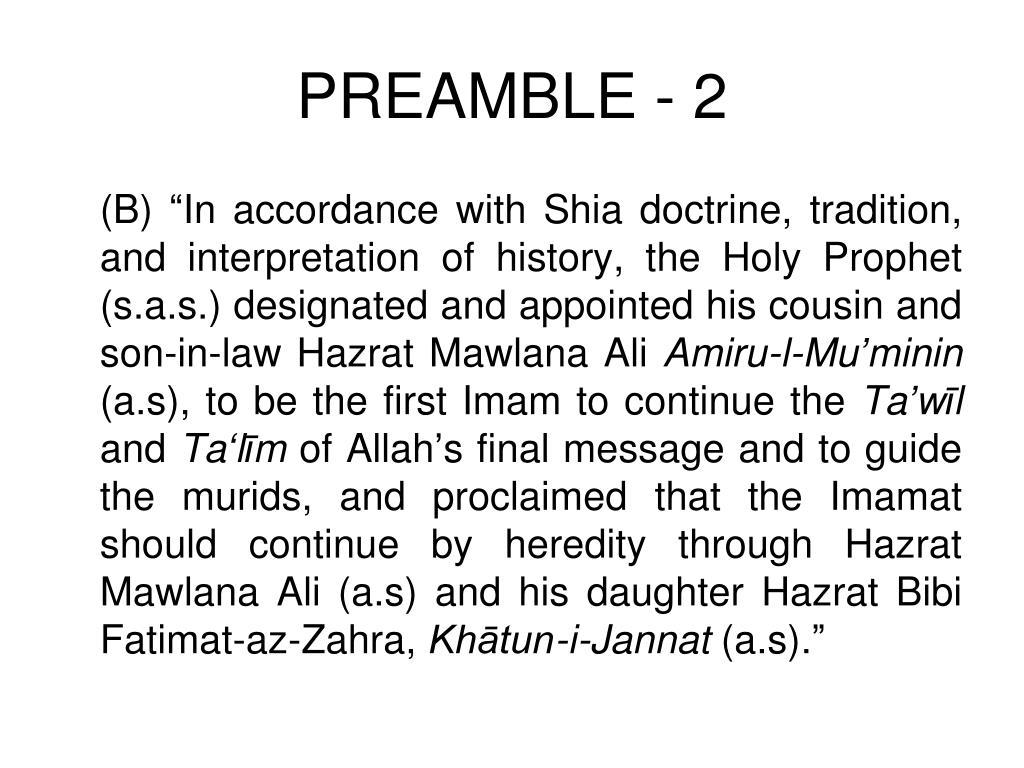 PREAMBLE - 2