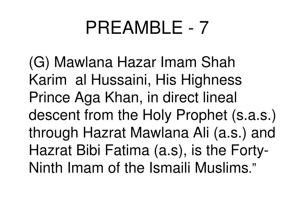 PREAMBLE - 7