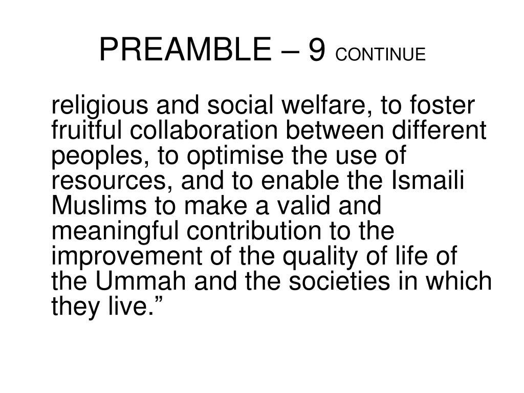 PREAMBLE – 9