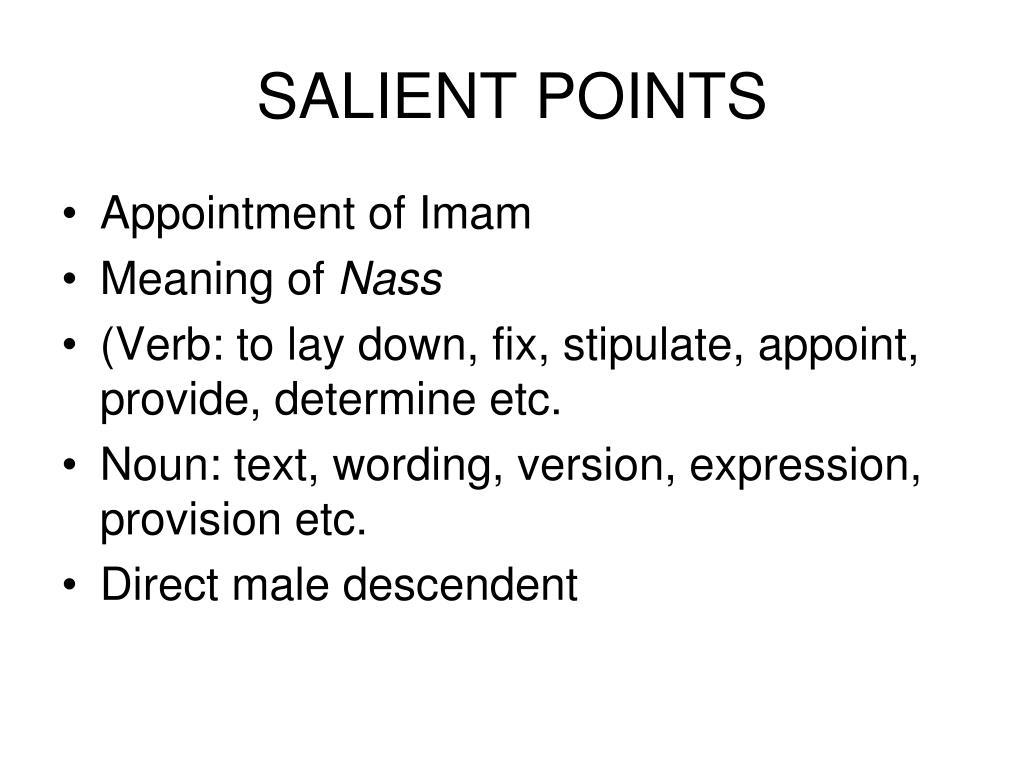 SALIENT POINTS