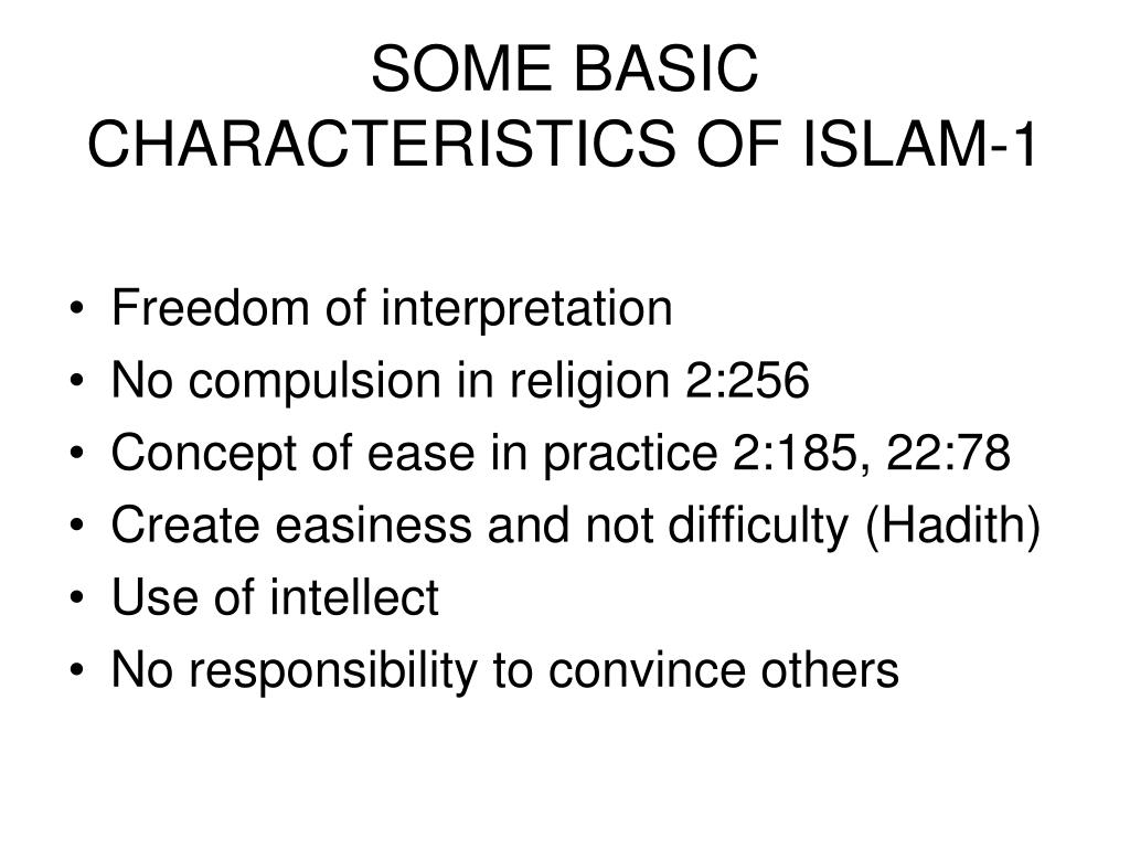SOME BASIC CHARACTERISTICS OF ISLAM-1