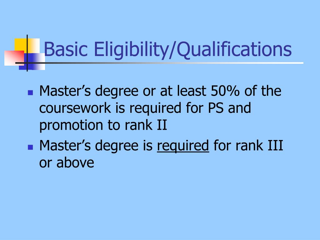 Basic Eligibility/Qualifications