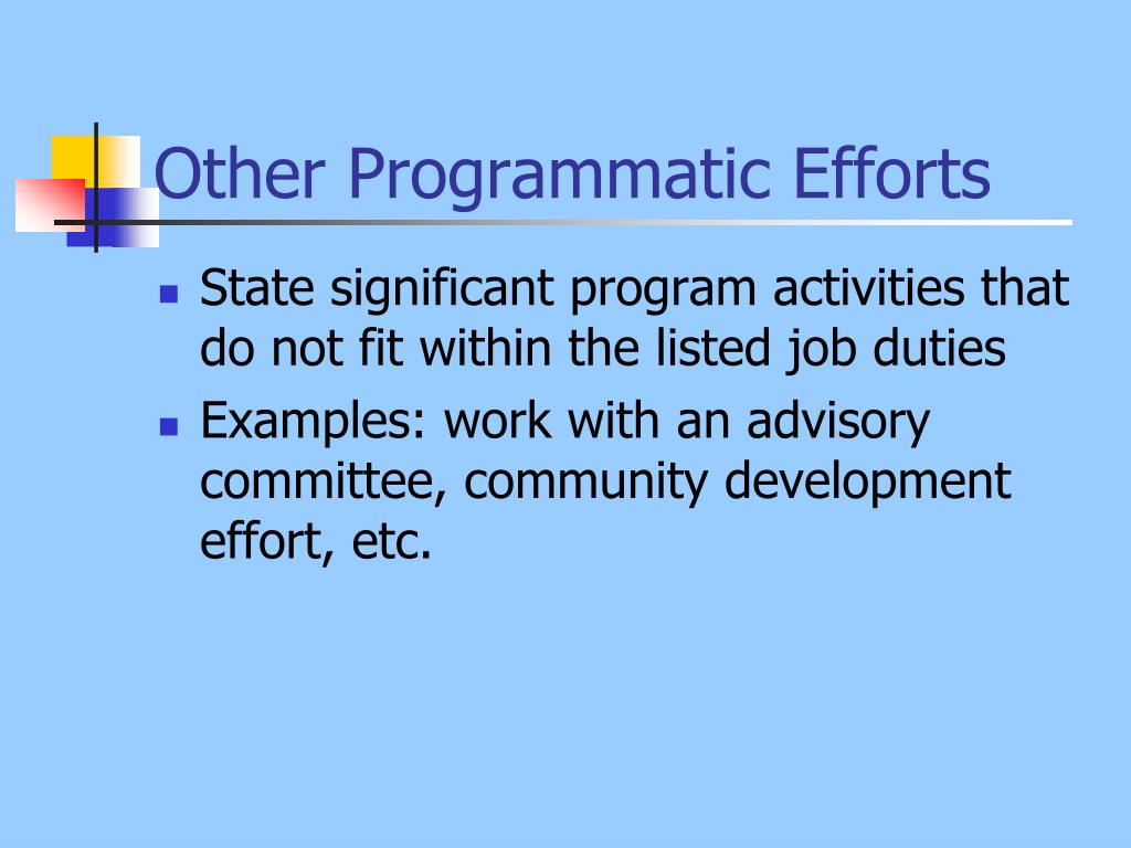 Other Programmatic Efforts