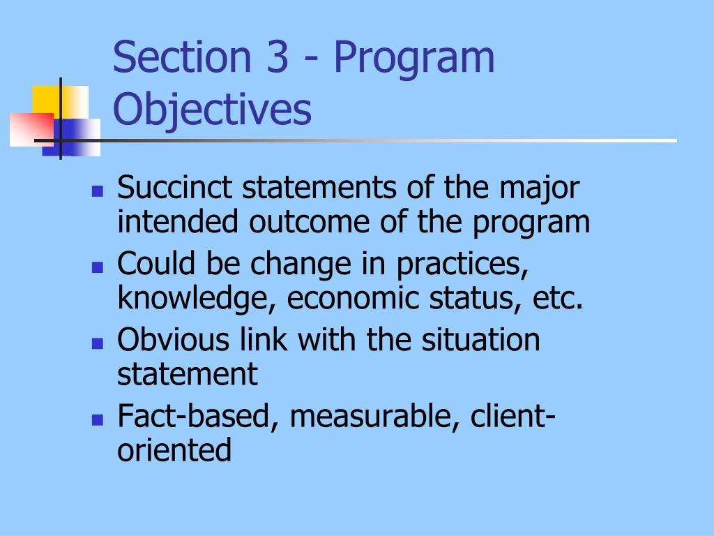 Section 3 - Program Objectives
