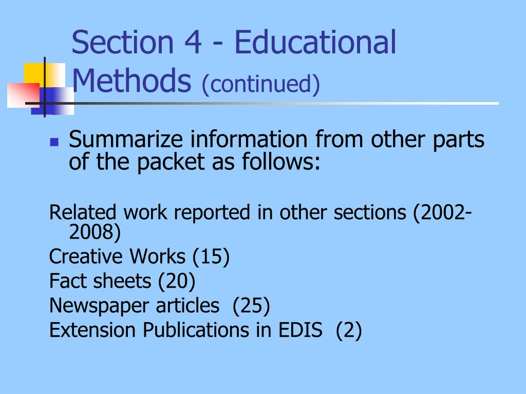 Section 4 - Educational Methods