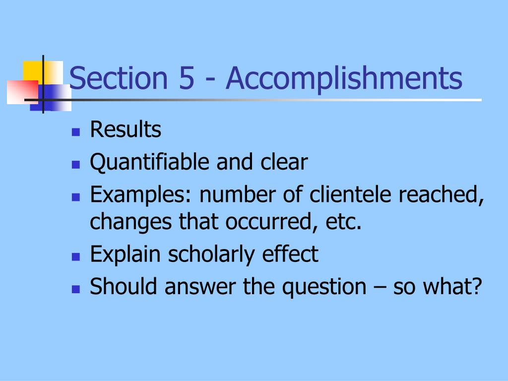 Section 5 - Accomplishments