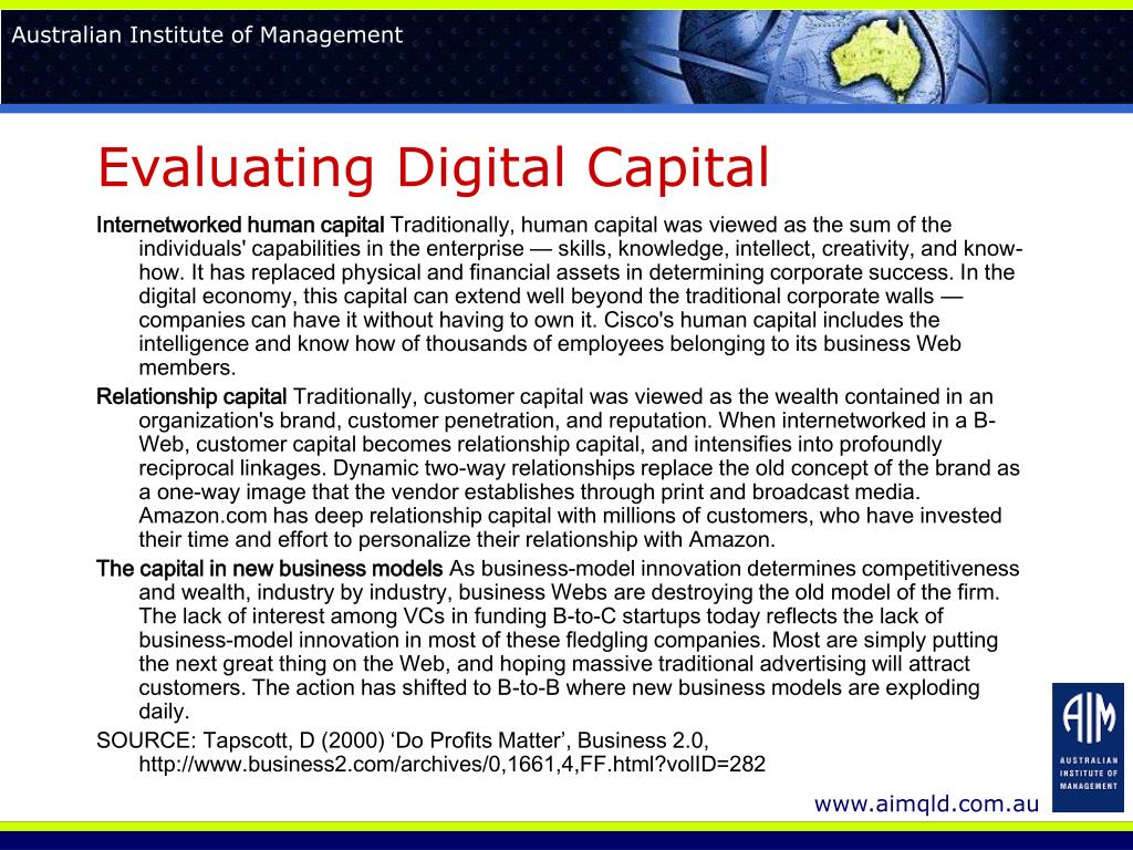 Evaluating Digital Capital