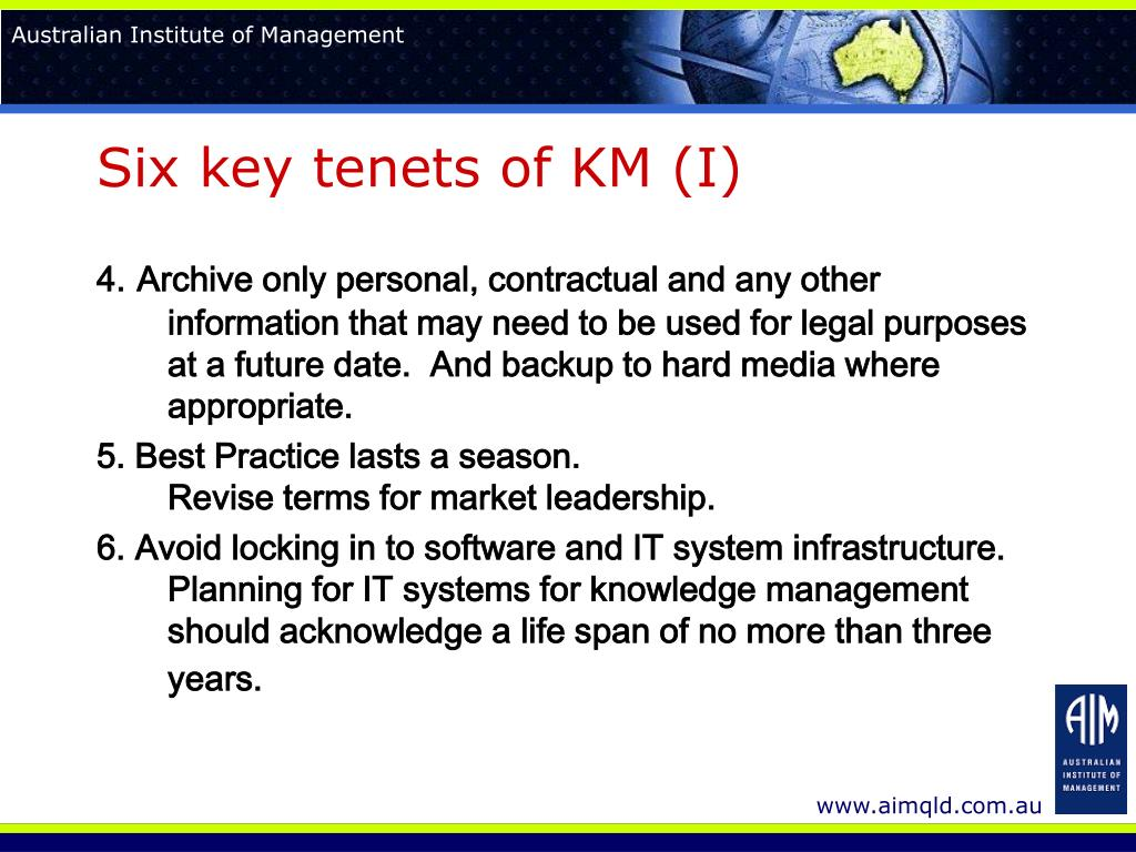 Six key tenets of KM (I)