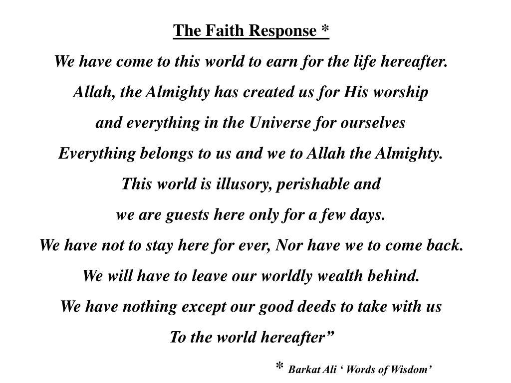 The Faith Response *