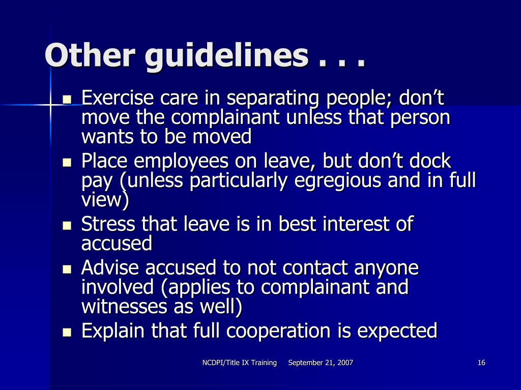 Other guidelines . . .