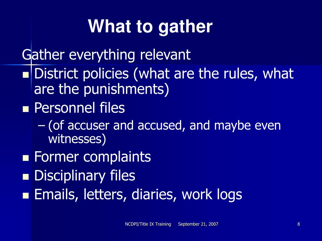 What to gather