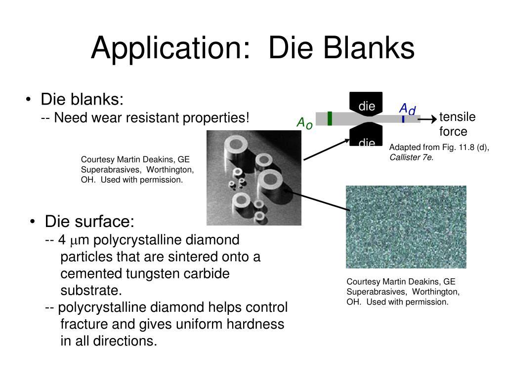 Application:  Die Blanks