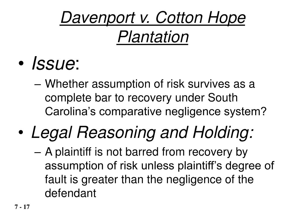 Davenport v. Cotton Hope Plantation