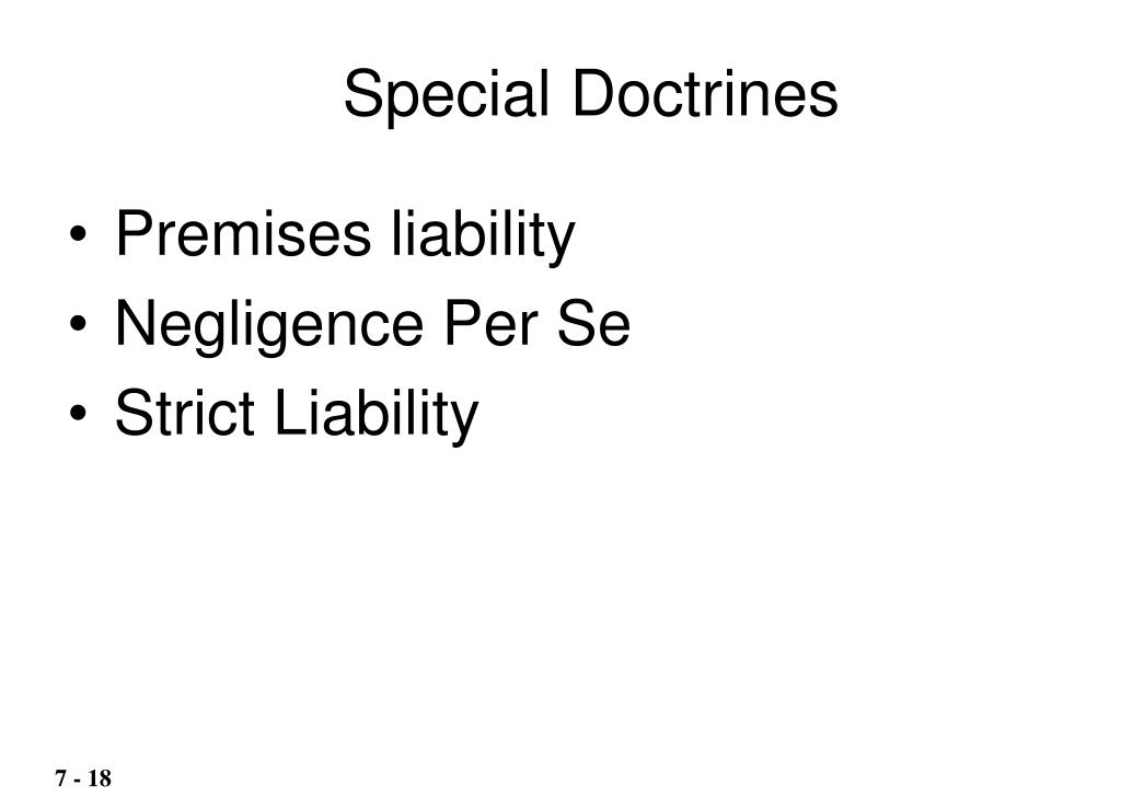 Special Doctrines