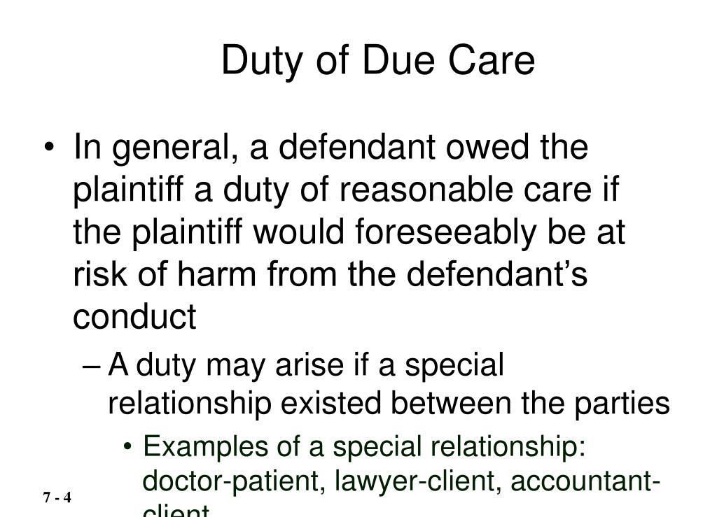 Duty of Due Care