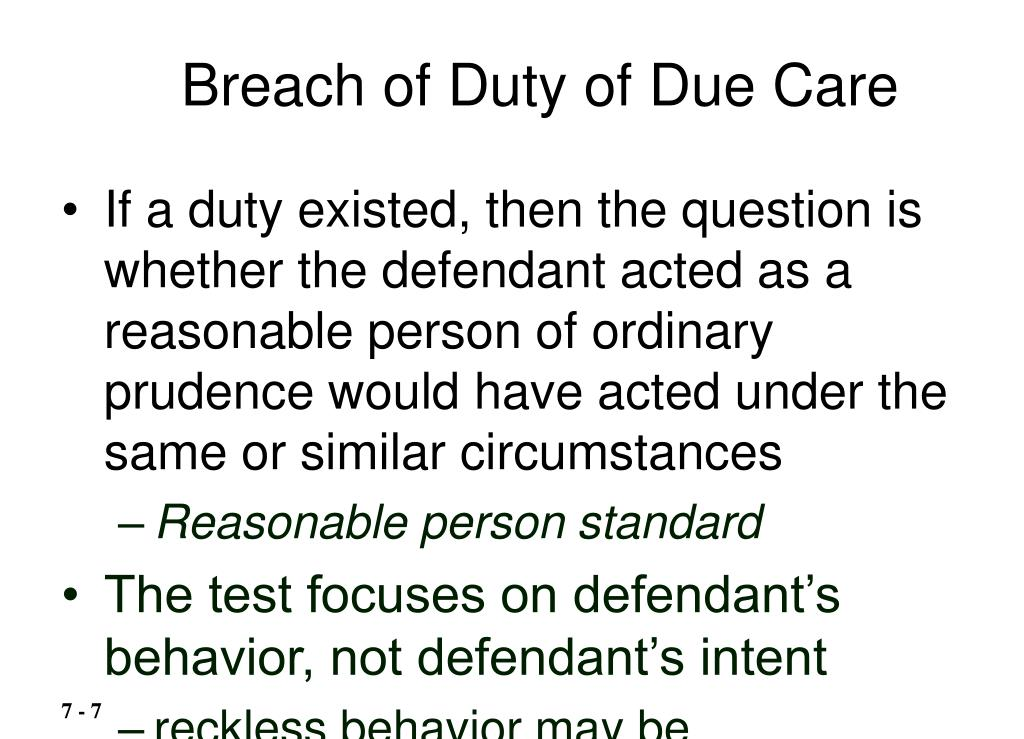 Breach of Duty of Due Care