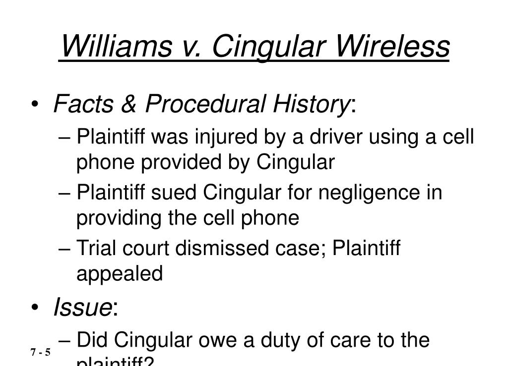 Williams v. Cingular Wireless
