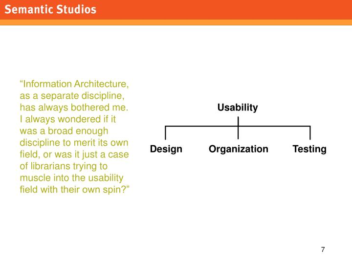 """Information Architecture, as a separate discipline, has always bothered me."