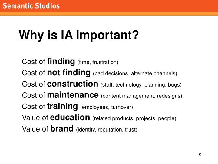 Why is IA Important?
