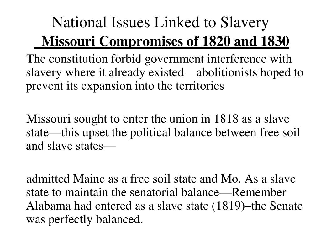 National Issues Linked to Slavery