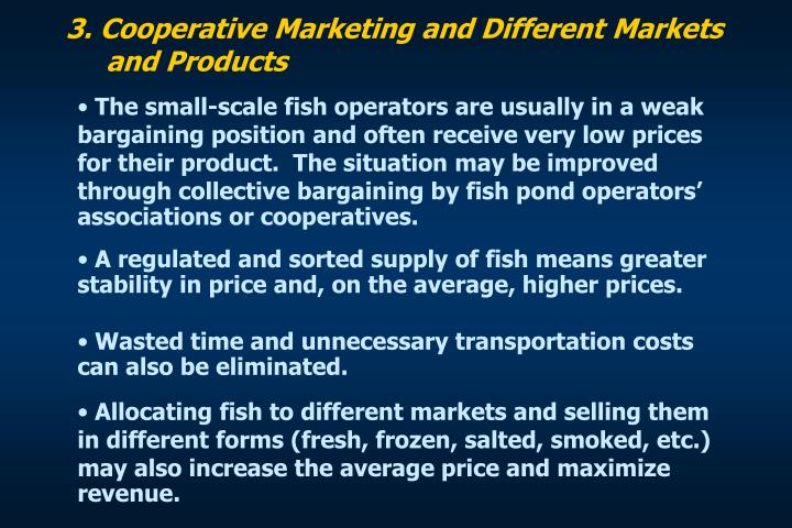 3. Cooperative Marketing and Different Markets