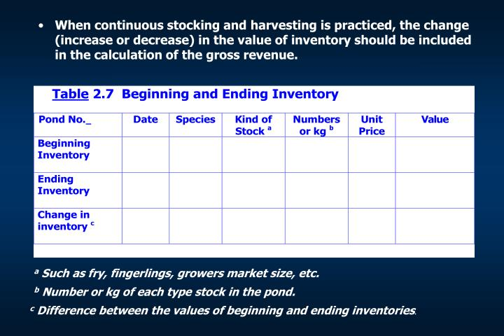 When continuous stocking and harvesting is practiced, the change (increase or decrease) in the value of inventory should be included in the calculation of the gross revenue.