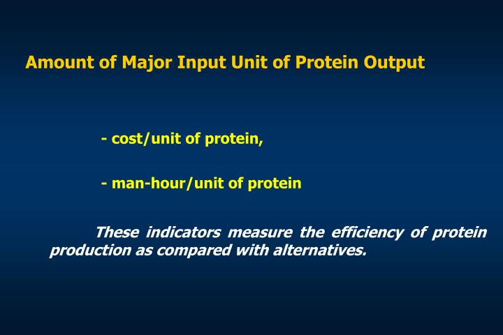 Amount of Major Input Unit of Protein Output