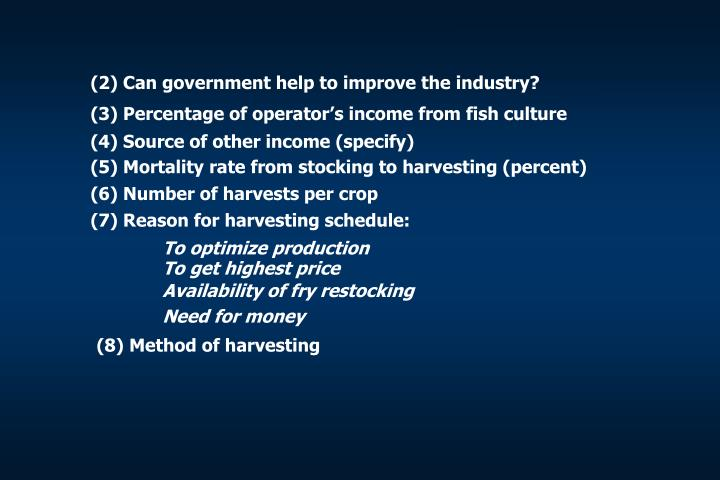 (2) Can government help to improve the industry?