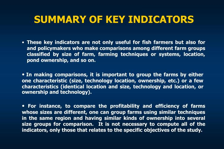 SUMMARY OF KEY INDICATORS