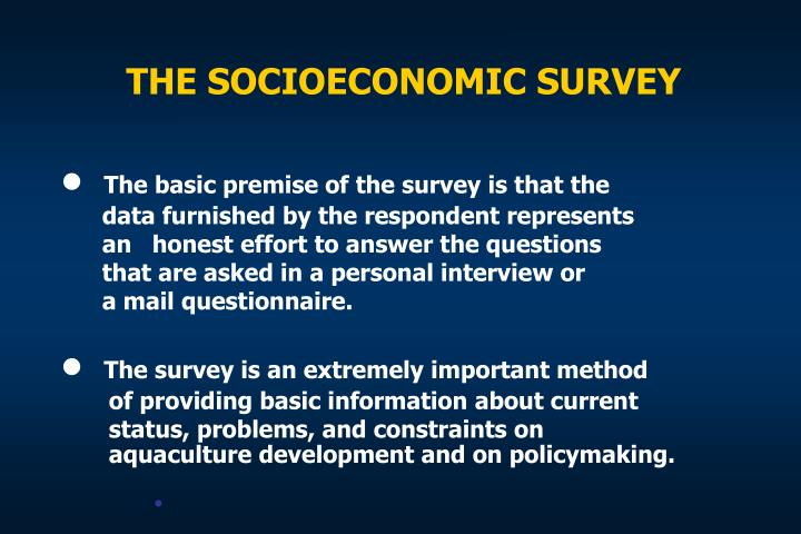THE SOCIOECONOMIC SURVEY