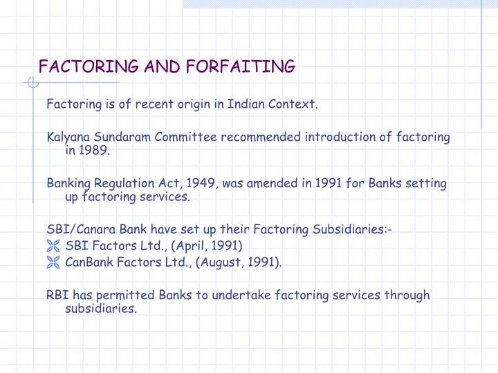 Factoring and forfaiting2