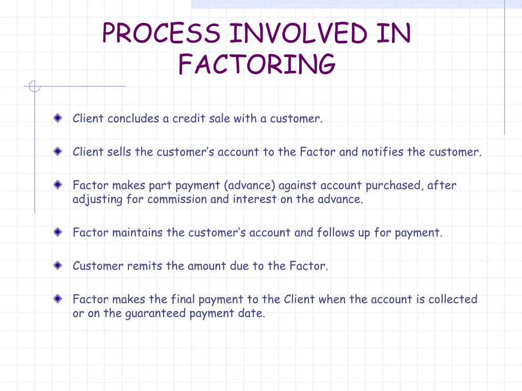 PROCESS INVOLVED IN FACTORING