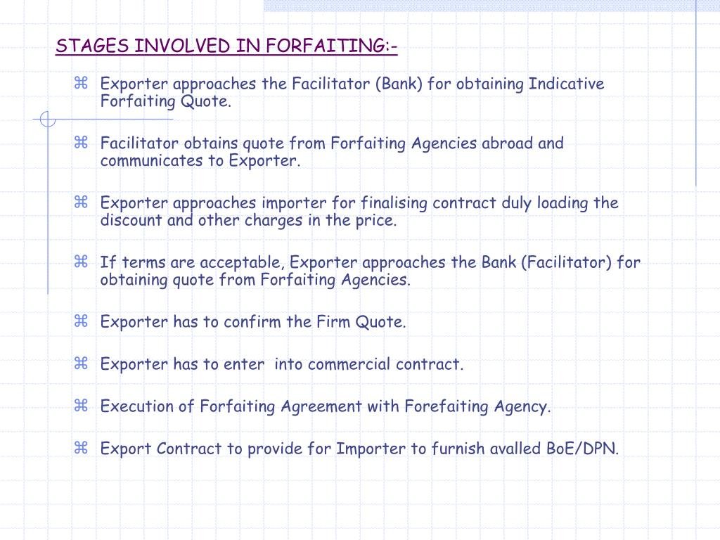 STAGES INVOLVED IN FORFAITING:-